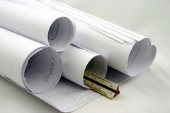 Rolls dei disegni con il righello Fotografie Stock
