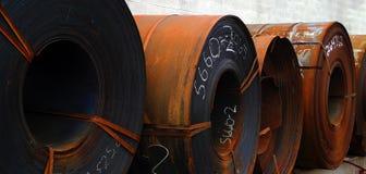 Rolls del metal de hoja aherrumbrado Fotografía de archivo