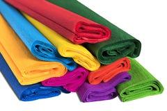 Rolls del primo piano colorato della carta ondulata immagini stock libere da diritti