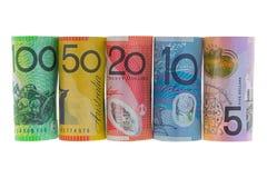 Rolls della banconota dell'Australia Dollari australiani differenti di soldi Fotografia Stock Libera da Diritti