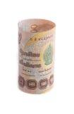 Rolls della banconota di valuta tailandese Fotografie Stock Libere da Diritti