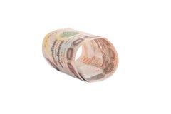 Rolls della banconota di valuta tailandese Fotografia Stock