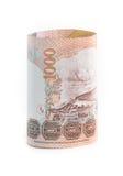 Rolls della banconota di valuta tailandese fotografie stock