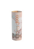 Rolls della banconota di valuta tailandese immagini stock libere da diritti