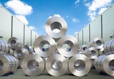 Rolls della lamiera di acciaio in magazzino illustrazione di stock