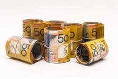 Rolls delle note dell'australiano $50 Fotografie Stock