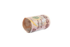 Rolls der Banknote der thailändischen Währung Stockfoto