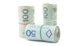Rolls des billets de banque polonais Image stock