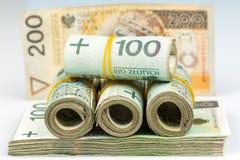 Rolls des billets de banque - zloty polonais Photo libre de droits
