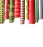 Rolls des farbigen Verpackungspapiers auf white3 Lizenzfreies Stockbild