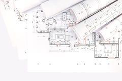 Rolls des modèles et des dessins architecturaux Images stock
