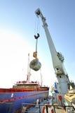 Rolls des Stahlblechs im Hafen Lizenzfreies Stockbild