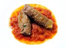 Rolls di carne e di salsa al pomodoro Fotografia Stock