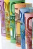 Rolls di euro banconote, primo piano Immagine Stock