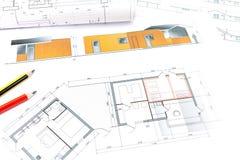 Rolls do modelo da arquitetura e do plano da casa ilustração stock
