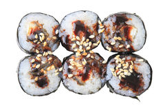 Rolls with Eel - top view Royalty Free Stock Images
