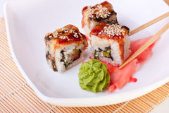 Rolls with eel and sesame Royalty Free Stock Image