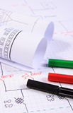 Rolls of electrical diagrams and accessories for drawing Royalty Free Stock Photography