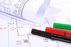 Rolls of electrical diagrams and accessories for drawing Royalty Free Stock Image