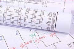 Rolls of electrical diagrams Stock Photo