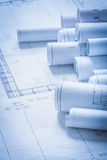 Rolls of engineering construction plans building Stock Images
