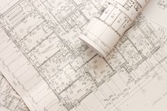 Rolls of Engineering Drawings Royalty Free Stock Photos