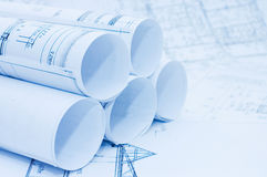 Rolls of Engineering Drawings. Still life royalty free stock photo