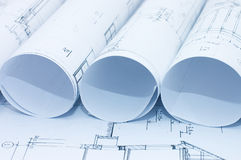 Rolls of Engineering Drawings Royalty Free Stock Image