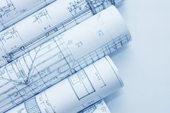 Rolls of Engineering Drawings. Close up royalty free stock photos