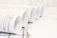 Rolls of Engineering Drawings Stock Photo