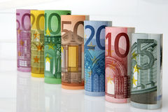 Rolls of Euro bank notes Royalty Free Stock Image