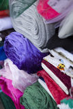 Rolls of fabric. Colour rolls of fabric at market stock photography