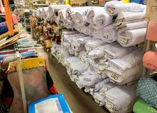 Rolls of fabric in a shop. Royalty Free Stock Photography