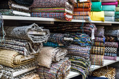 Rolls of fabric and textiles in a factory shop or  store Royalty Free Stock Photography