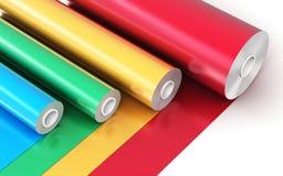 Rolls Farbe-PVC-Plastikbands Stockfoto