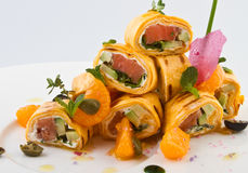 Rolls with fish. Tasty dish with fish Royalty Free Stock Images