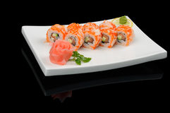 Rolls with fish and caviar Stock Image