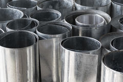 Rolls of flat galvanized metal sheets Royalty Free Stock Photo
