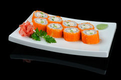 Rolls with flying fish caviar Royalty Free Stock Photos