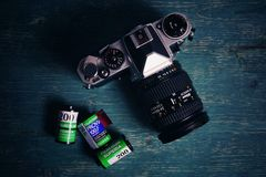 Rolls of Fuji film and camera Stock Photo