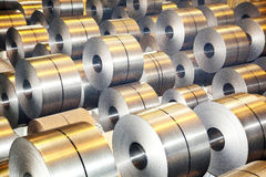 Rolls of galvanized steel sheet Stock Images