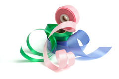 Rolls of Gift Ribbons Stock Photo