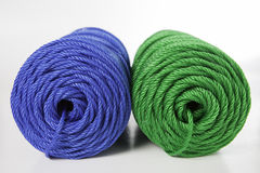 Rolls of green and blue polyester rope Stock Photography