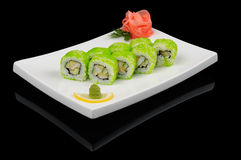 Rolls with green caviar Royalty Free Stock Photo