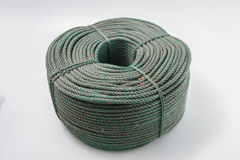 Rolls of green polyester rope Stock Images