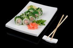 Rolls in green seaweed Stock Photos