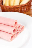 Rolls of ham Stock Photos