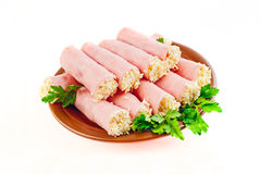 Rolls. ham with cheese Royalty Free Stock Photography
