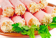 Rolls. ham with cheese Royalty Free Stock Photos