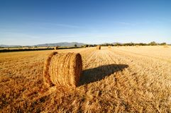Rolls of hay against mountains. Royalty Free Stock Image
